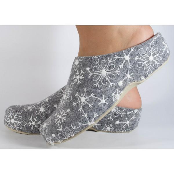 Papuci de casa MUBB gri cu alb din lana dama/dame/femei (cod 285-4-18)