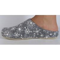 Papuci de casa MUBB alb cu gri din lana dama/dame/femei (cod 485.4.18)