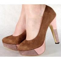 Pantofi maro casual pumps dama/femei cu toc (cod HA-015)