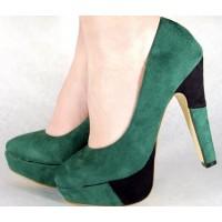 Pantofi verzi casual pumps dama/femei cu toc (cod HA-015)