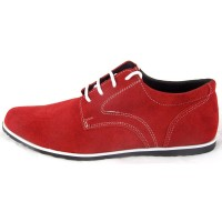 Pantofi barbati cu siret, rosii din piele (cod SPO4)