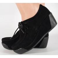 Pantofi cu platforma din piele negri dama/dame/femei (cod 15-12225)