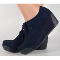 Pantofi cu platforma din piele bleumarin dama/dame/femei (cod 15-12225)