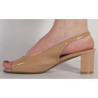 Sandale lac bej foarte elegante dama/dame/femei (cod 15-46215)
