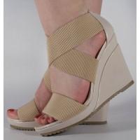 Sandale platforme bej dama/dame/femei (cod 15-148005)