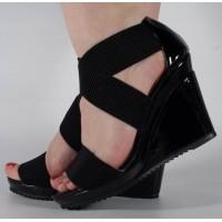 Sandale platforme negre dama/dame/femei (cod 15-148005)