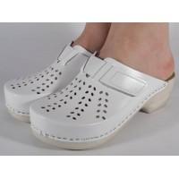Saboti/Papuci albi din piele naturala dama/dame/femei (cod PU-161)
