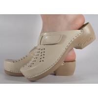 Saboti/Papuci bej din piele naturala dama/dame/femei