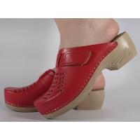 Saboti/Papuci rosii din piele naturala dama/dame/femei (cod PU-161)