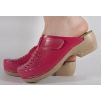Saboti/Papuci roz inchis din piele naturala dama/dame/femei (cod PU-161)