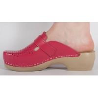 Saboti/Papuci roz inchis din piele naturala dama/dame/femei (cod 159)