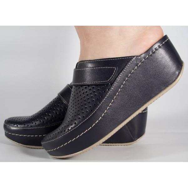 Saboti/Papuci negru din piele naturala dama/dame/femei (cod 666)