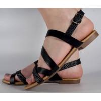 Sandale negre plane dama/dame/femei (cod 16-088038)