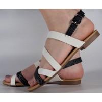 Sandale albe plane dama/dame/femei (cod 16-088038)