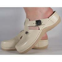 Saboti/Papuci bej din piele naturala dama/dame/femei (cod 900)