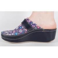 Saboti/Papuci negru cu flori din piele naturala dama/dame/femei (cod 666F)