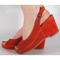 Sandale platforma rosii piele naturala dama/dame/femei (cod 505)