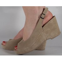 Sandale platforma bej piele naturala dama/dame/femei (cod 505)