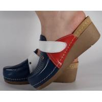 Saboti/Papuci cu rosu din piele naturala dama/dame/femei (cod 1001)