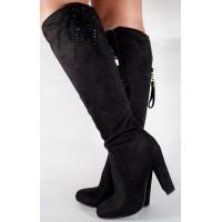 Cizme elegante negre foarte comode dama/dame/femei (cod 048491)