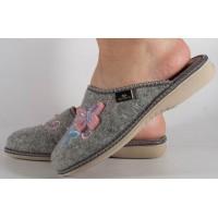 Papuci de casa gri din lana dama/dame/femei (cod BETTIN)
