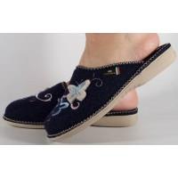 Papuci de casa bleumarin din lana dama/dame/femei (cod BETTIN)