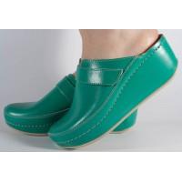 Saboti/Papuci verzi neperforati din piele naturala dama/dame/femei (cod 6664)