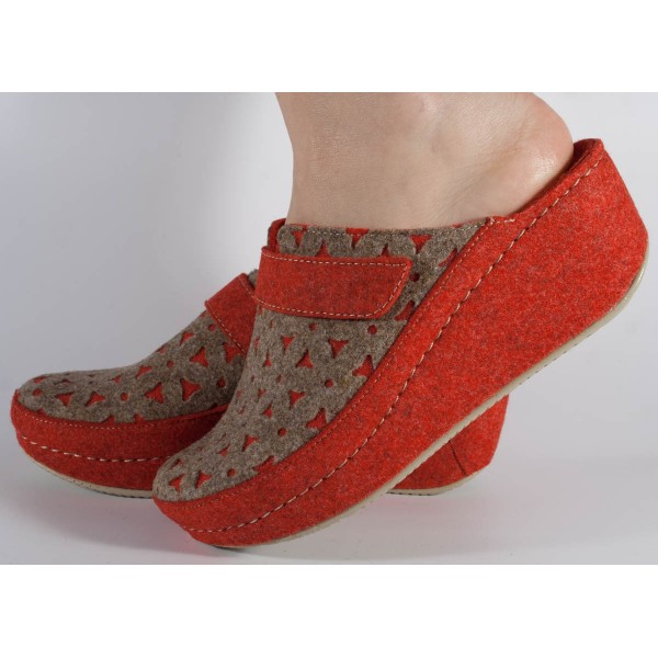 Papuci de casa rosu cu bej din lana cu platforma dama/dame/femei (cod 6620)