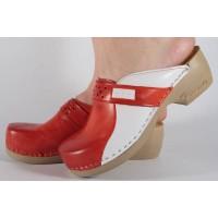 Saboti/Papuci rosii din piele naturala dama/dame/femei (cod PU154)