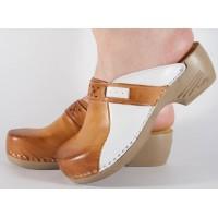 Saboti/Papuci maro din piele naturala dama/dame/femei (cod PU154)