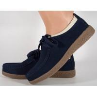Pantofi din piele naturala bleumarin talpa crep dama/dame/femei (cod 186004)