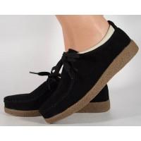 Pantofi din piele naturala negri talpa crep dama/dame/femei (cod 186004)