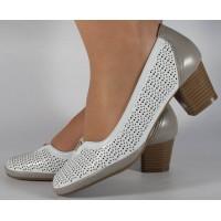 Pantofi albi cu gri perforati dama/dame/femei (cod 028447)