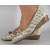 Pantofi platforma perforati bej cu gri dama/dame/femei (cod 028452)