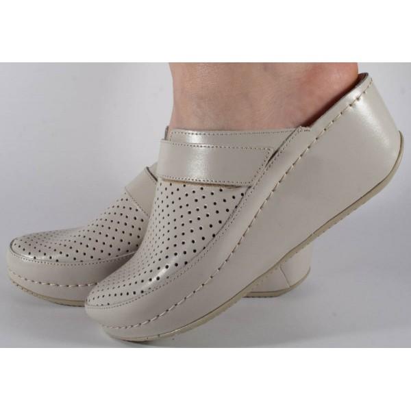 Saboti/Papuci bej din piele naturala dama/dame/femei (cod 666)