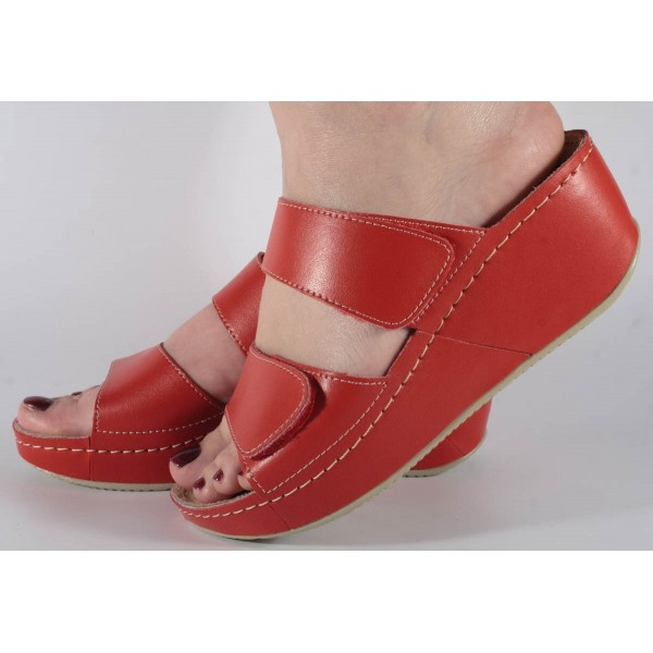 Saboti/Papuci albi din piele naturala dama/dame/femei (cod 6680.1)