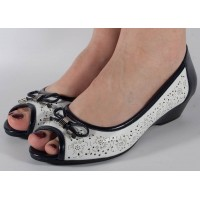 Pantofi perforati platforma alb bleumarin dama/dame/femei (cod 028451)