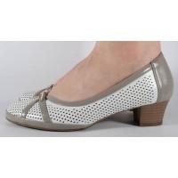 Pantofi albi cu gri perforati dama/dame/femei (cod 028448)