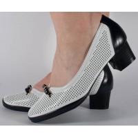 Pantofi alb bleumarin perforati dama/dame/femei (cod 028446)