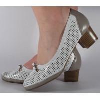 Pantofi alb gri perforati dama/dame/femei (cod 028446)