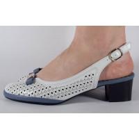 Pantofi office perforati alb cu albastru dama/dame/femei (cod 028456)