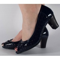 Pantofi eleganti de lac bleumarin perforati dama/dame/femei (cod 022052)