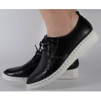 Pantofi negri perforati din piele naturala dama/dame/femei (cod 159007)