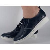 Pantofi bleumarin perforati din piele naturala dama/dame/femei (cod 159007)