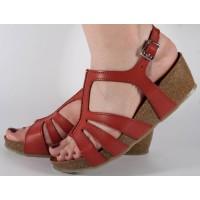 Sandale platforma rosii piele naturala dama/dame/femei (cod 160202)