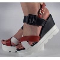 Sandale platforma rosu alb bleumarin dama/dame/femei (cod 028470)