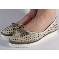 Pantofi bej platforma perforati dama/dame/femei (cod 028464)
