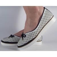 Pantofi alb bleumarin platforma perforati dama/dame/femei (cod 028464)