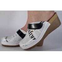 Saboti/Papuci ziar din piele naturala dama/dame/femei (cod 1003)