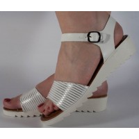 Sandale platforma albe dama/dame/femei (cod 022039)